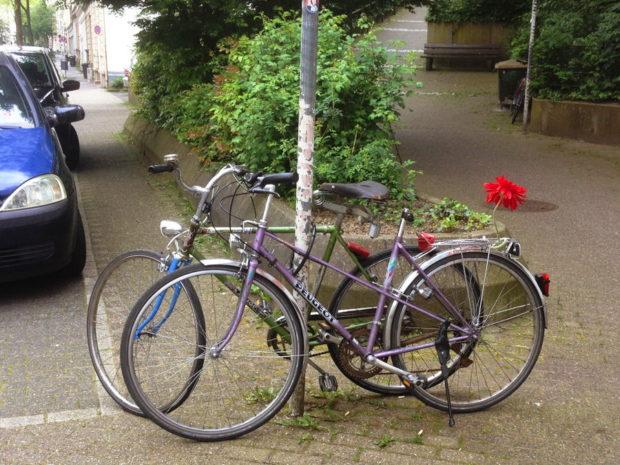 Zwei abgestellte Fahrräder - eines mit Blumenschmuck