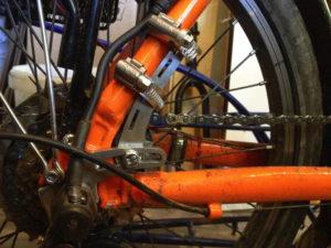 Drehmomentabstützung an einem Fahrradrahmen