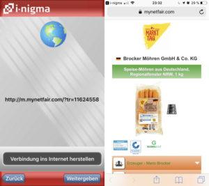 QR-Code-Reader-App und aufgerufene Website