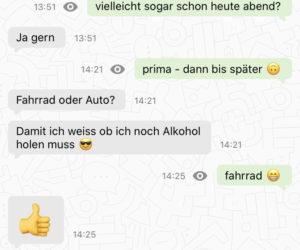"""Chat-Screenshot zum Thema """"Alkohol und Fahrrad"""""""