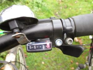 8-fach Schalthebel montiert am Fahrradlenker