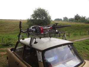 Fahrrad auf Trabant-Dachgepäckträger