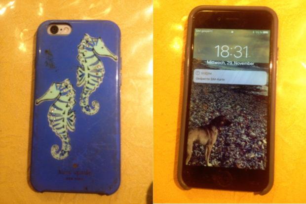 Handy in blauer Hülle mit Seepferdchen