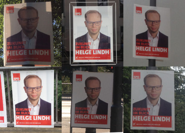 """Collage von Wahlplakten """"Helge Lindh"""""""
