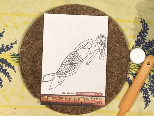 Zeichnung einer Meerjungfrau