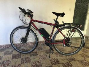 Aufgebocktes Fahrrad