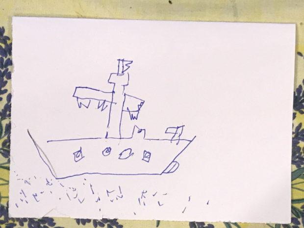 Kinderzeichnung eines Schiffswrack