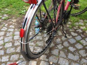 Fahrradhinterrad mit Schutzblech