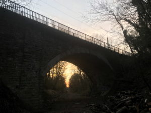 Sonnenuntergang unter der Gänsebrücke