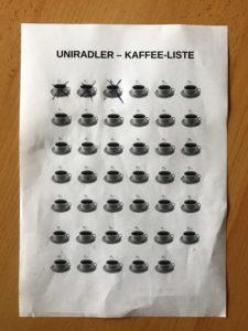 Blatt mit der Abbildung von 41 Kaffeetassen
