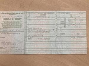 Fahrzeugszulassungsbescheinigung